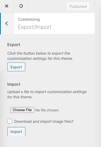 Export / import options