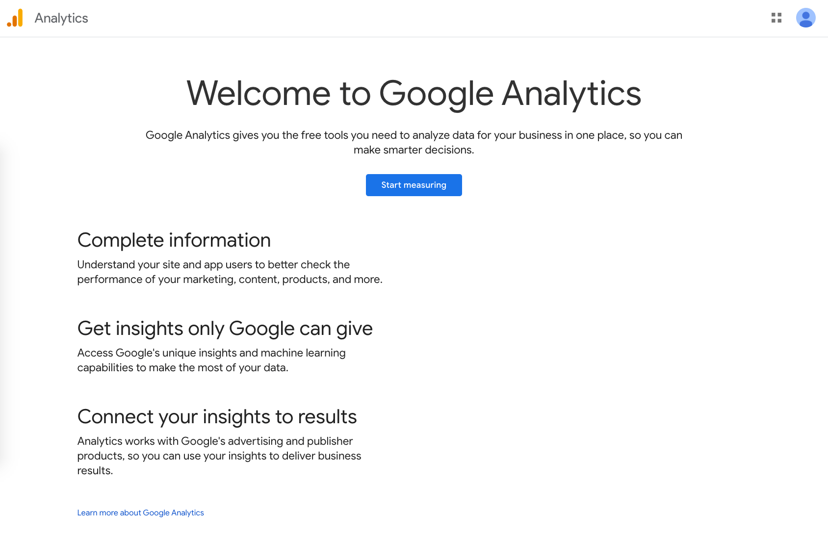Google Analytics welcome