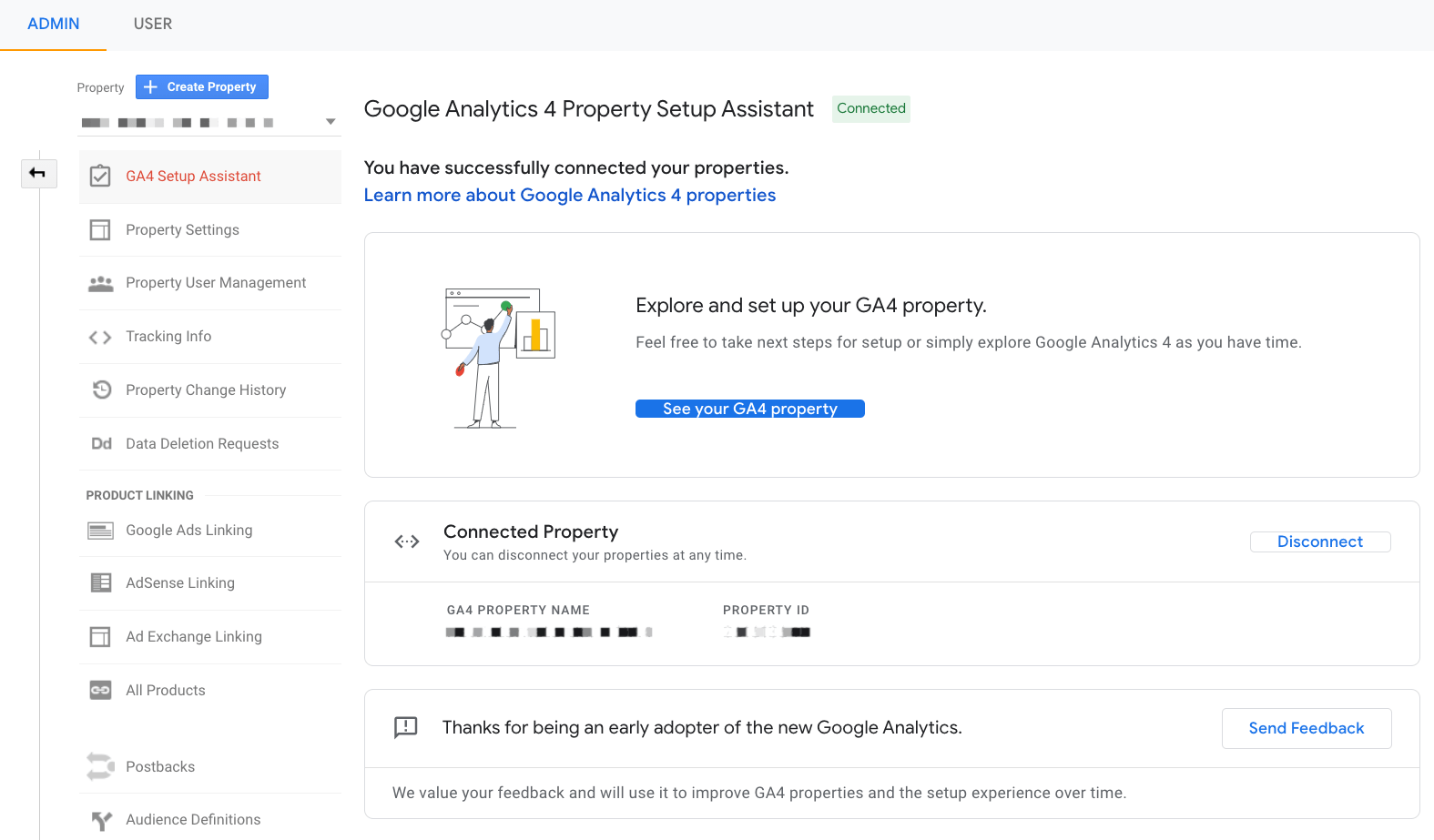 Google Analytics 4 property up and running