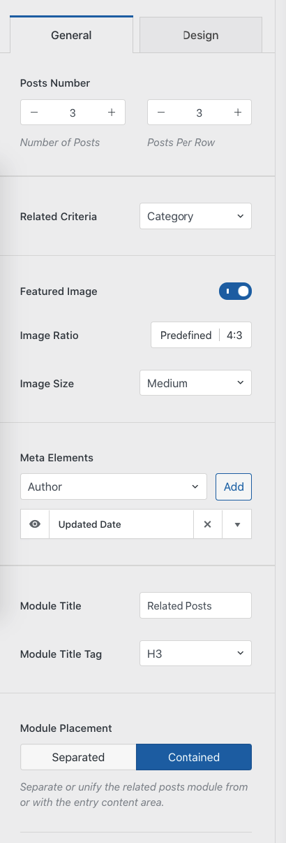 Related posts options